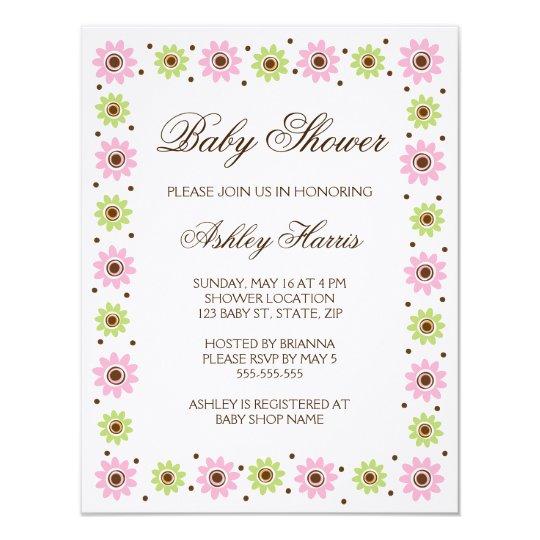 Pink green flower border Baby Shower invitation