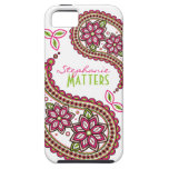 Pink Green Funky Paisley Personalised iPhone 5 Case For The iPhone 5