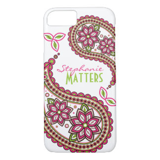 Pink Green Funky Paisley Personalized iPhone 8/7 Case