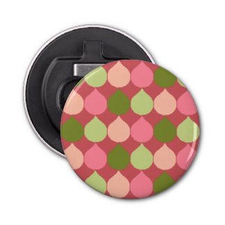 Pink Green Geometric Ikat Teardrop Circles Pattern Bottle Opener