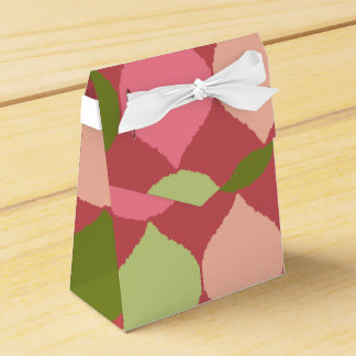 Pink Green Geometric Ikat Teardrop Circles Pattern Favour Box