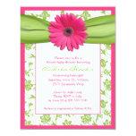 Pink Green Gerbera Daisy Baby Shower Invitation 11 Cm X 14 Cm Invitation Card