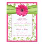 Pink Green Gerbera Daisy Bridal Shower Invitation 11 Cm X 14 Cm Invitation Card