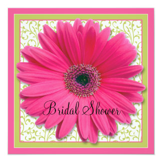 Pink Green Gerbera Daisy Square Bridal Shower 13 Cm X 13 Cm Square Invitation Card