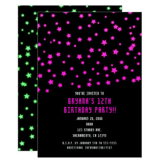 Pink Green Glowing Stars Birthday Party Invitation