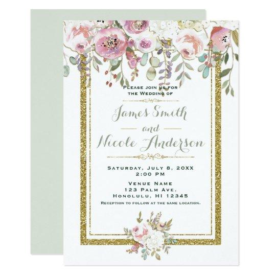 Pink Green & Gold Modern Floral Pastel Wedding