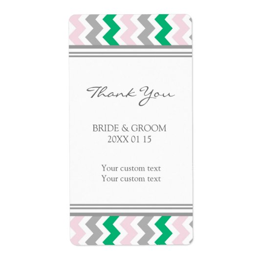 Pink Green Grey Chevron Wedding Labels