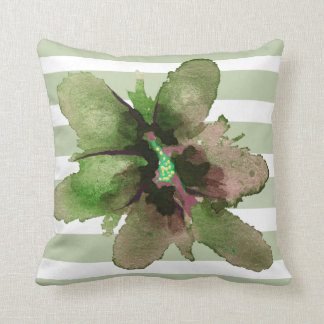 Pink Green Grey Striped Watercolor Floral Pillow