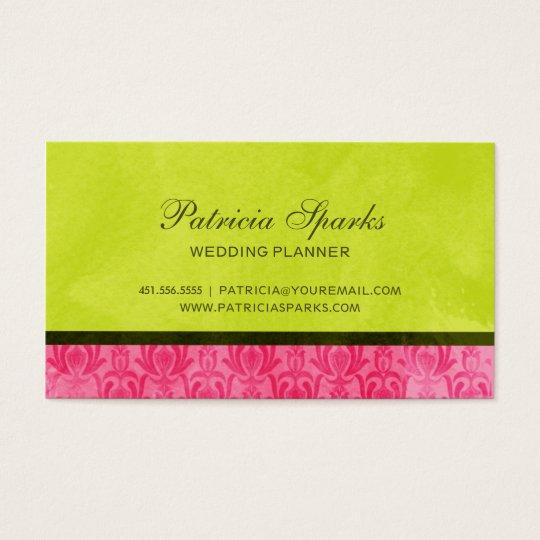 Pink Green Grunge Damask Business Card