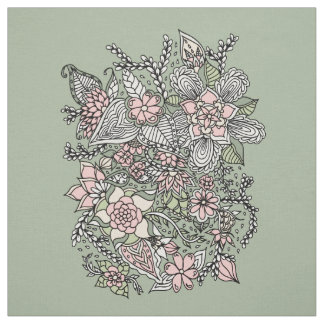 Pink green hand drawn modern floral pattern fabric