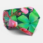 Pink Green Hawaiian Plumeria Big Flowers Tie