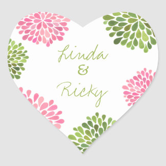 Pink & Green Heart Blooms Wedding Sticker Seal