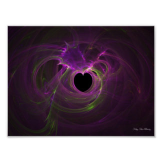 Pink Green Heart Explosion Fractal Kitty Ann Poster