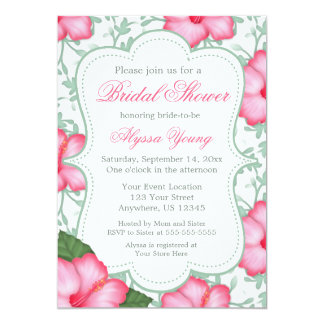 Pink Green Hibiscus Bridal or Baby Shower Invite