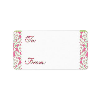 Pink Green Holiday Damask Gift Labels
