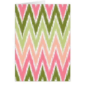 Pink Green Ikat Chevron Zig Zag Stripes Pattern Greeting Card
