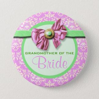 Pink green ivory damask bride 7.5 cm round badge