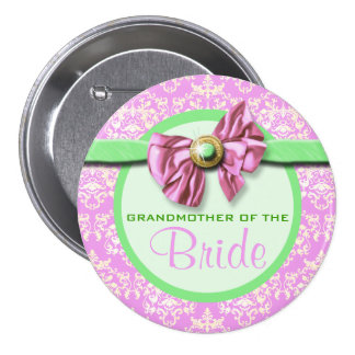 Pink green ivory damask bride 7.5 cm round badge