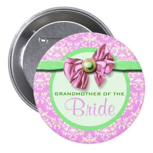 Pink green ivory damask bride button