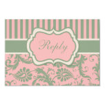 Pink, Green, Khaki Striped Damask Reply Card Personalized Announcements