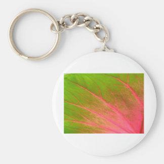 pink green leaf basic round button key ring
