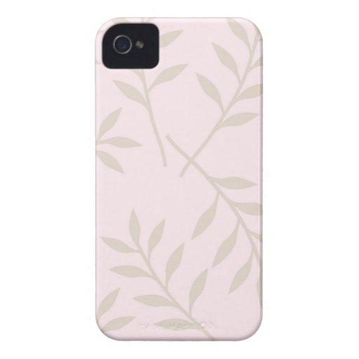 Pink Green Leaves Pattern Blackberry Case-Mate