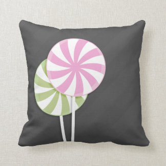 Pink Green Lollipops Throw Pillow