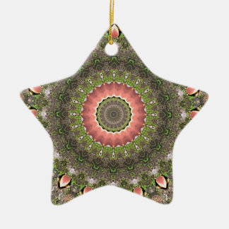 Pink & Green Mandala Design Christmas Ornament