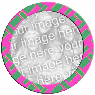 pink green mod photoframe standing photo sculpture