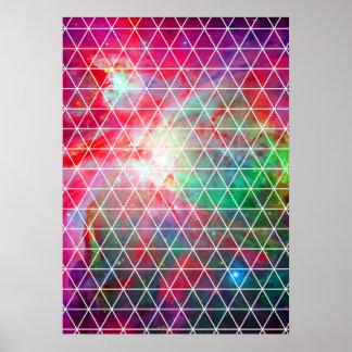 Pink Green Nebula Net Pattern Poster