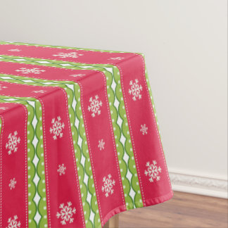 Pink & Green Ornaments & Snowflakes Table Cloth