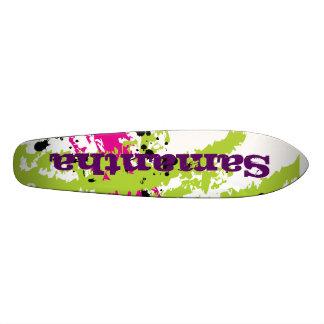 Pink Green Paint Splash Ink Old School Skateboard