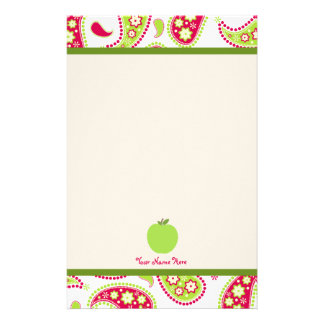 Pink & Green Paisley Apple Teacher Stationery