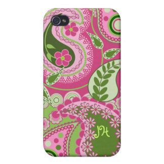 Pink / green Paisley design & Monogram Cover For iPhone 4