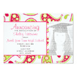 Pink & Green Paisley Graduation Photo Announcement