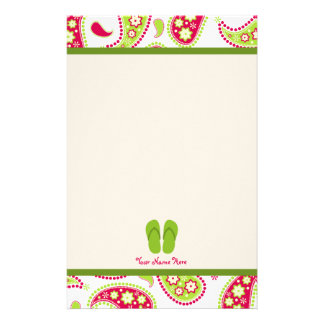 Pink & Green Paisley, Green Flip Flops Stationery