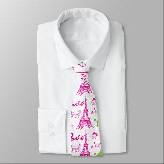 Pink green Paris Love Tie