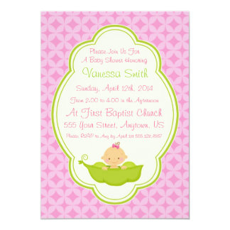 Pink & Green Pea in the Pod Baby Shower Invitation