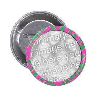 pink green photo frame 6 cm round badge
