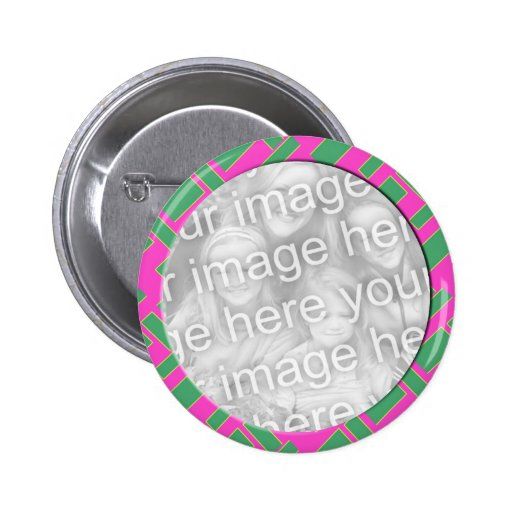 pink green photo frame pinback buttons