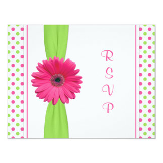 "Pink Green Polka Dot Bat Mitzvah Reply Card 4.25"" X 5.5"" Invitation Card"