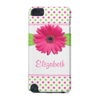 Pink Green Polka Dot Gerber Daisy iPod Touch (5th Generation) Cover
