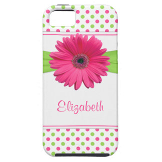 Pink Green Polka Dot Gerbera Daisy iPhone 5 Covers