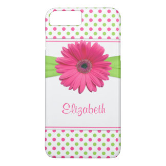 Pink Green Polka Dot Gerbera Daisy iPhone 8 Plus/7 Plus Case