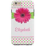 Pink Green Polka Dot Gerbera Daisy Tough iPhone 6 Plus Case