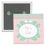 Pink & Green Polka-Dot with Ribbon & Swirls Buttons