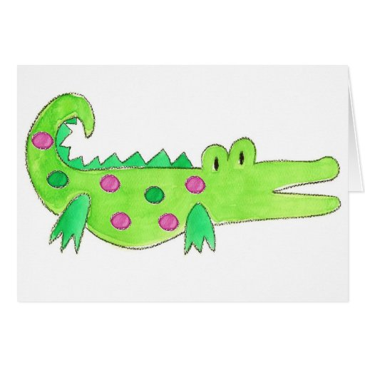 Pink & Green Preppy Alligator Greeting Card