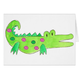 Pink & Green Preppy Alligator Greeting Card