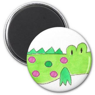 Pink & Green Preppy Alligator 6 Cm Round Magnet