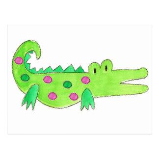 Pink & Green Preppy Alligator Postcard